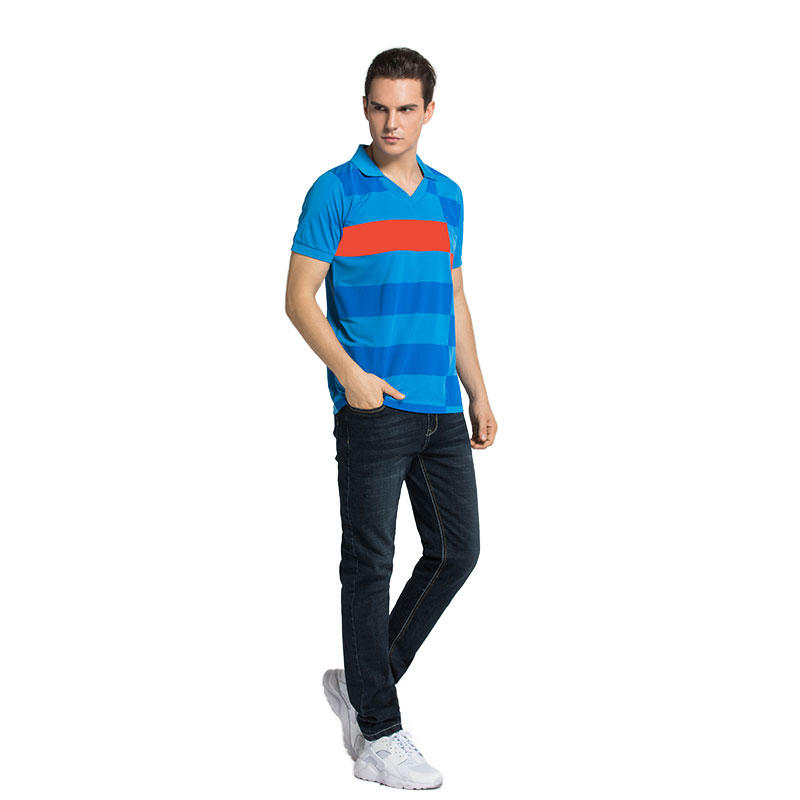 Polo T-Shirt Mens Casual 100% Cotton striped Short Sleeve in china