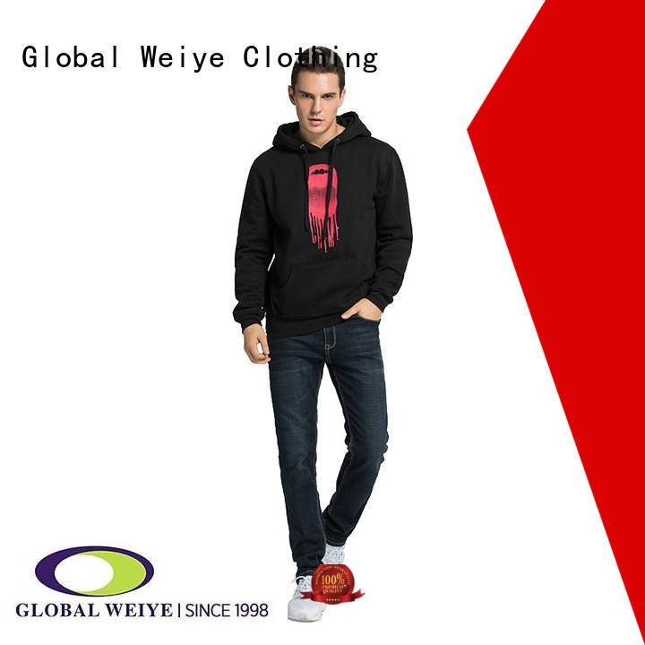 Global Weiye embroidery cool hoodies for men sweatshirts wholesale