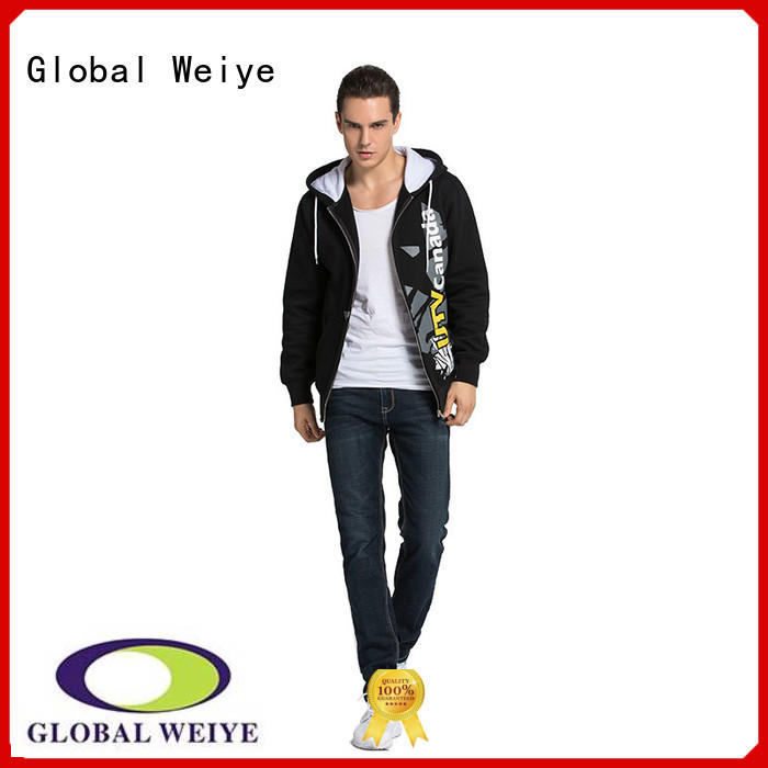 Global Weiye designed mens zip up sweatshirt no zipper wholesale