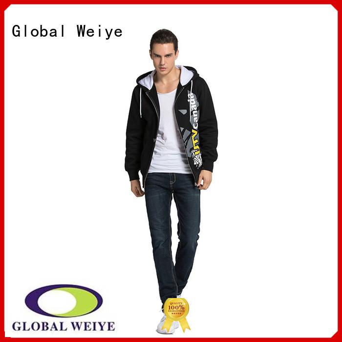 Global Weiye designed mens zip up sweatshirt no zipper wholesale