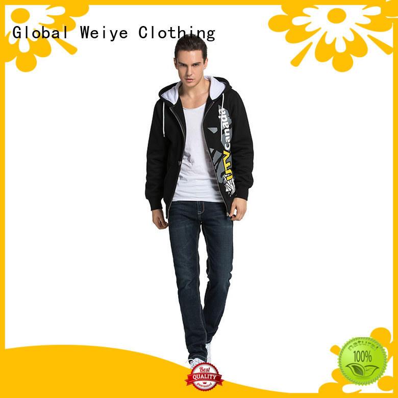 zipper oversized mens hooded zip up sweatshirts embroidery Global Weiye company
