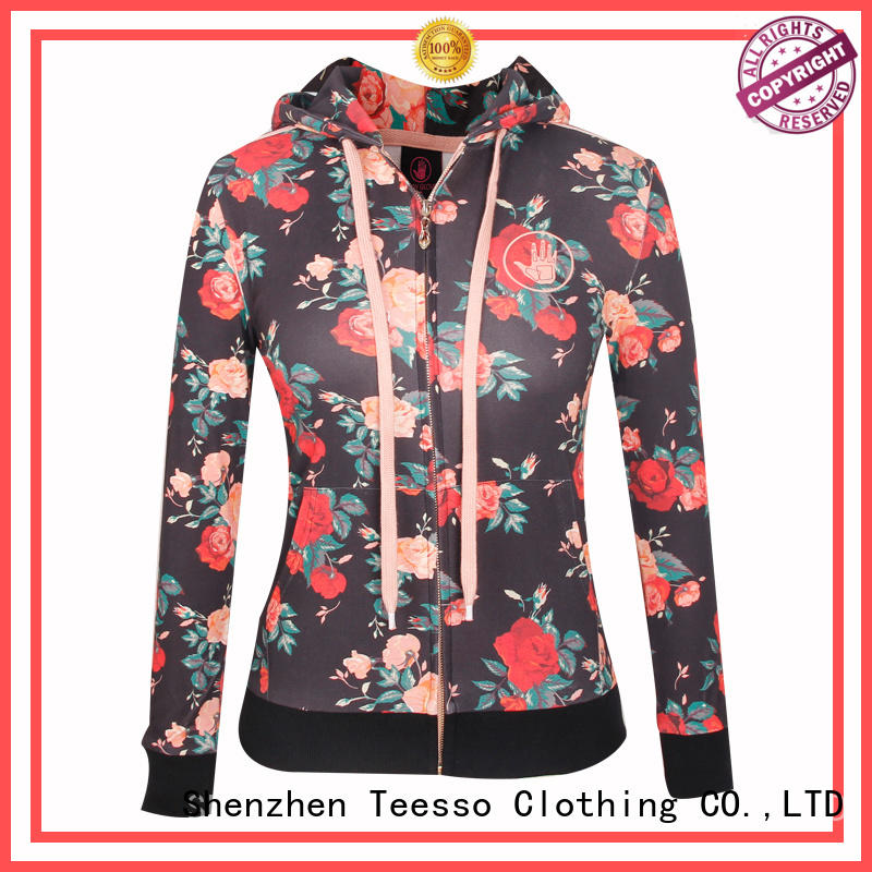 embroidery cute zip up hoodies oem for women
