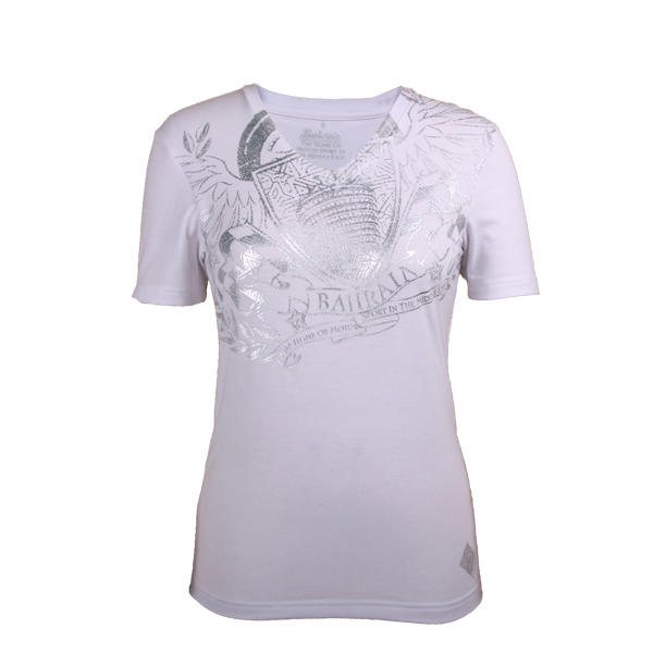 High Quality women's  T shirt short sleeve printed Cotton in White