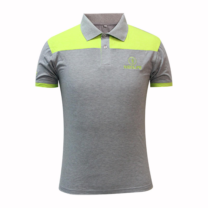 Gray polo collar shirts with green cuffs