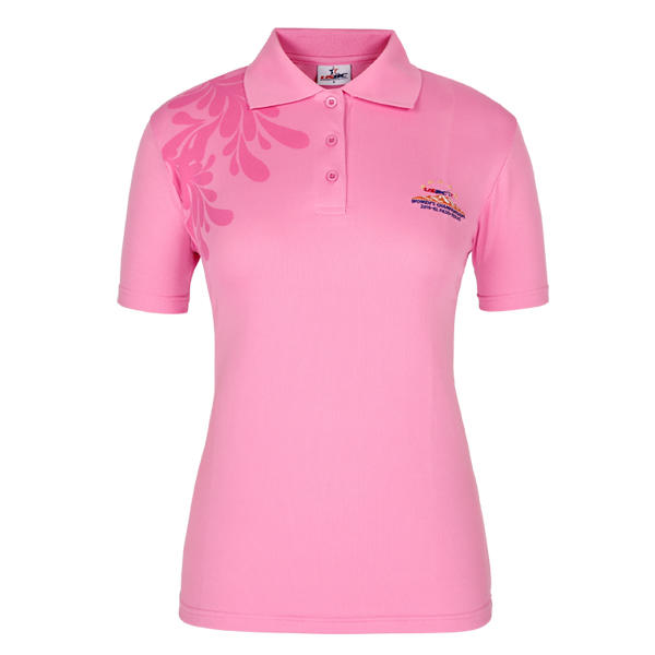 pink polo shirt womens printed and embrodiery logo