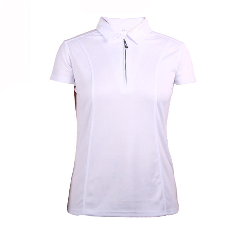 custom zipper womens white polo