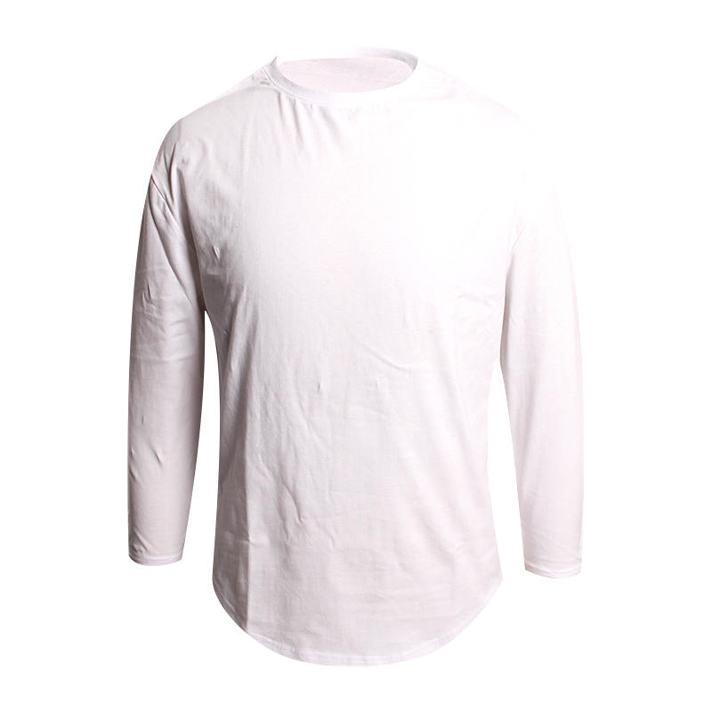 blank long sleeve t shirts with Curved hem