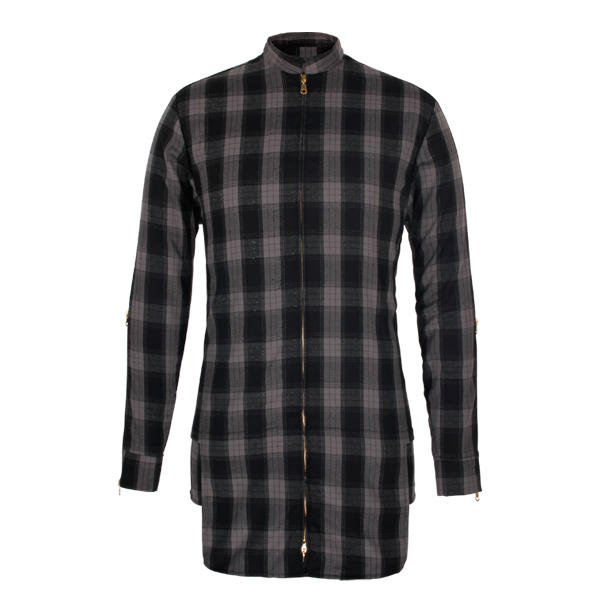 Plaid shirt with zipper and long sleeve