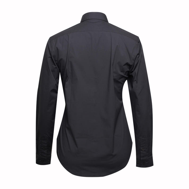 Women long sleeve black cotton shirt