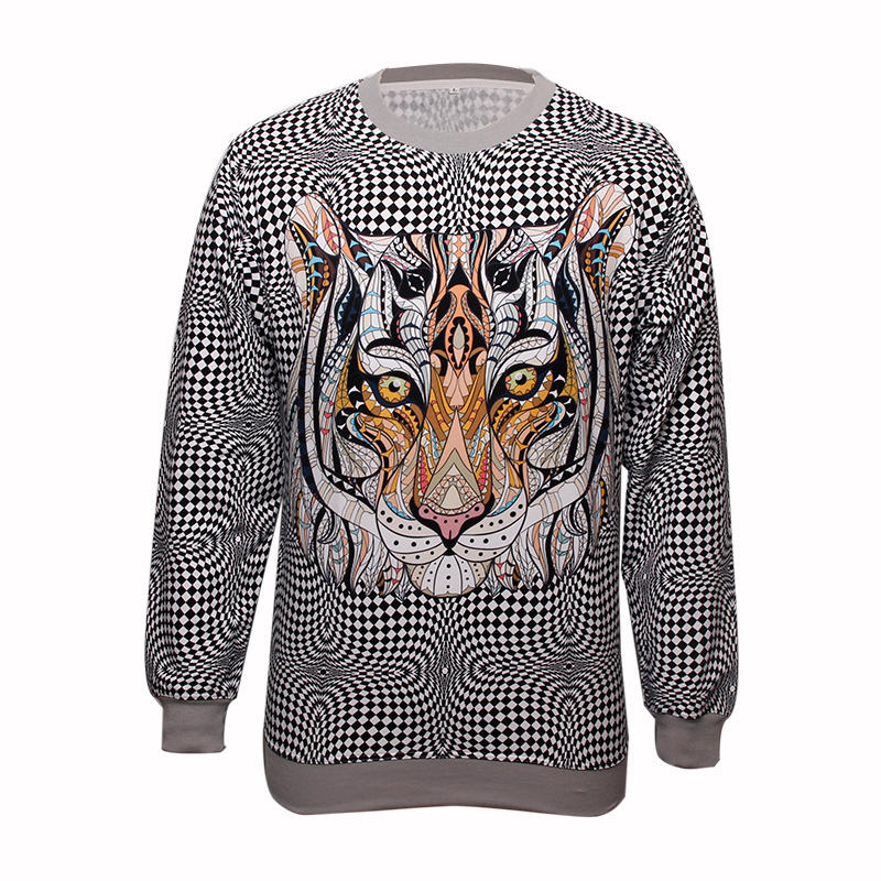 Fashion All-polyester fabric Leopards pinting Sweatshirt