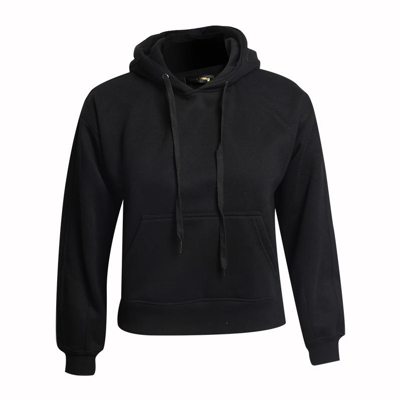 Black Hoodie Custom  60 Cotton 40 Polyester With Fleece