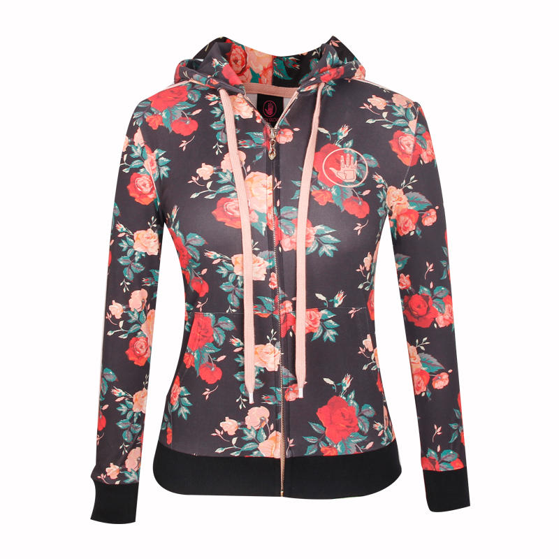 red hoodie fashion full printing ladies coat