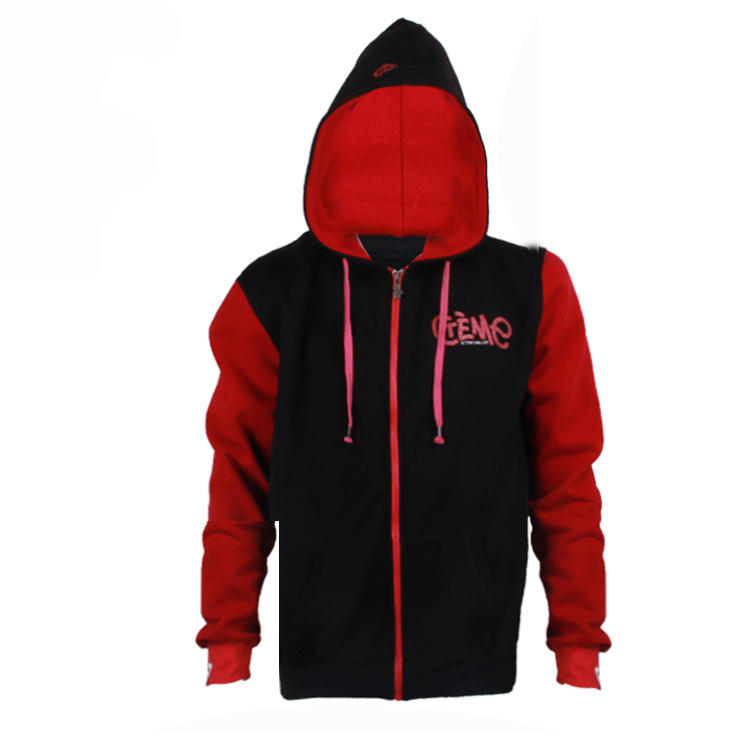 red and black hoodie Embroidery logo custom