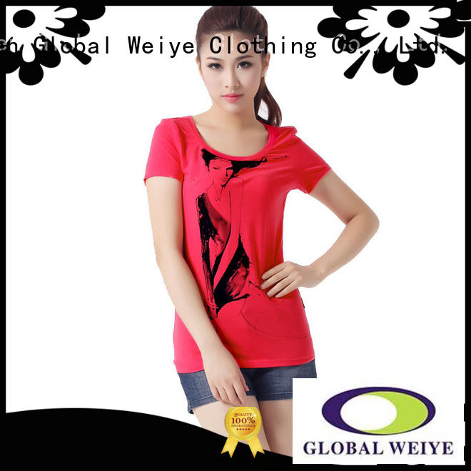 Global Weiye blank basic t shirts women's customized for ladies