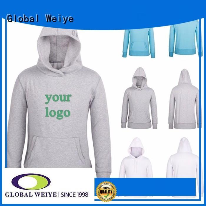 Global Weiye grey plain hoodies polyester for men
