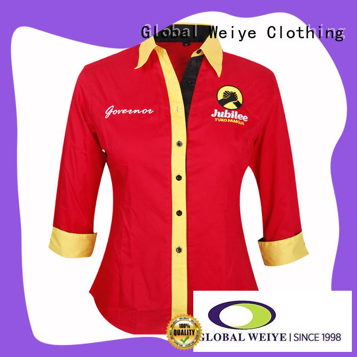 Global Weiye logo work uniform shirts with zipper for women