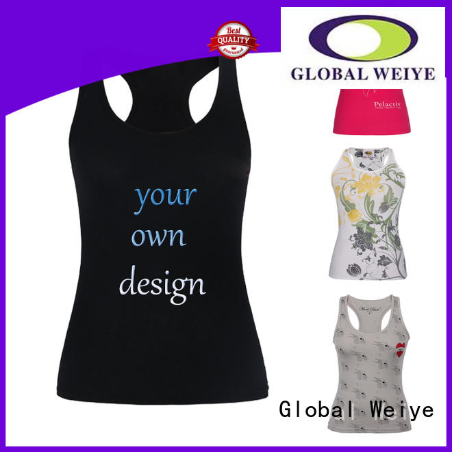 Global Weiye embroidery female tank top gym wholesale