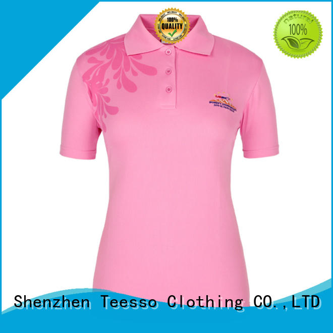 Teesso black womens polo logo wholesale