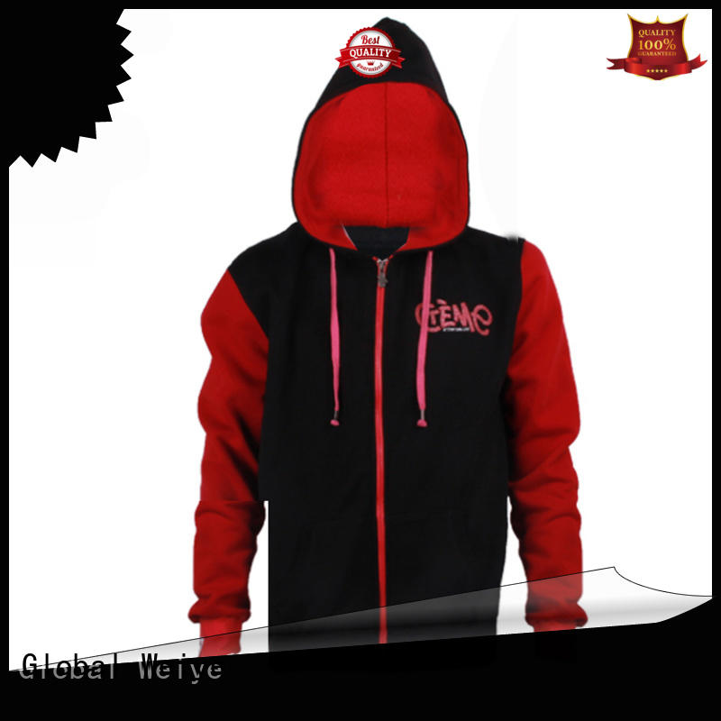 Global Weiye red cute zip up hoodies coat wholesale
