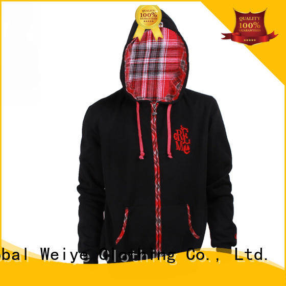 Global Weiye embroidery men's graphic zip up hoodies no zipper for women