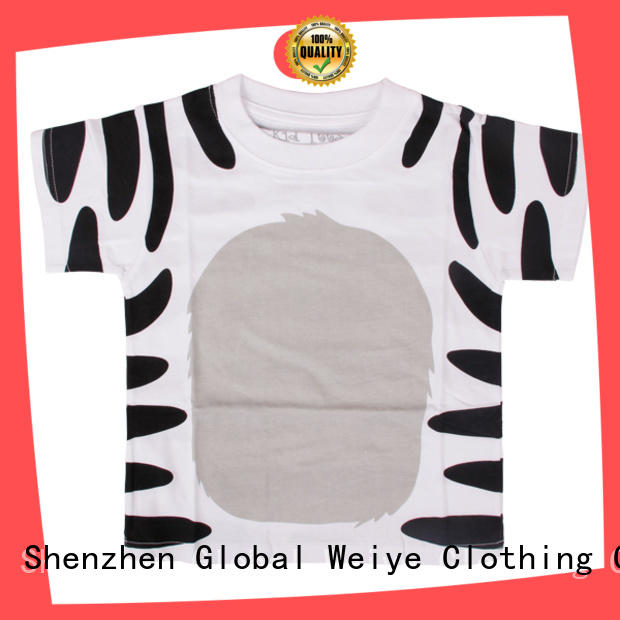 Global Weiye orange boys designer t shirts long round for children